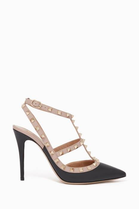 Black Single-Strap Rockstud Pumps