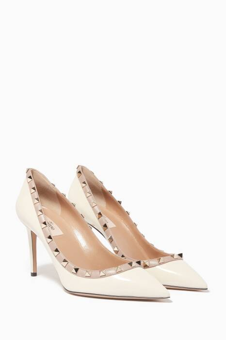 Off-White Two-Tone Patent Rockstud Pumps