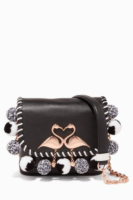 Black Claudie Flamingo Cross-Body Bag