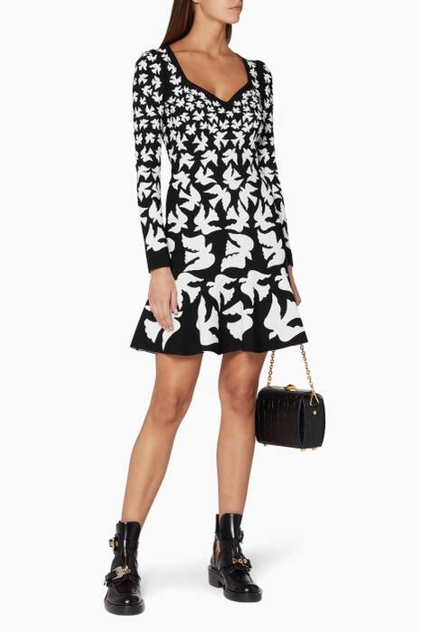 Black & White Doves-Intarsia Dress