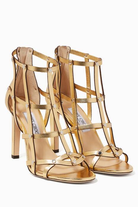 Metallic-Gold Tina Cage Sandals