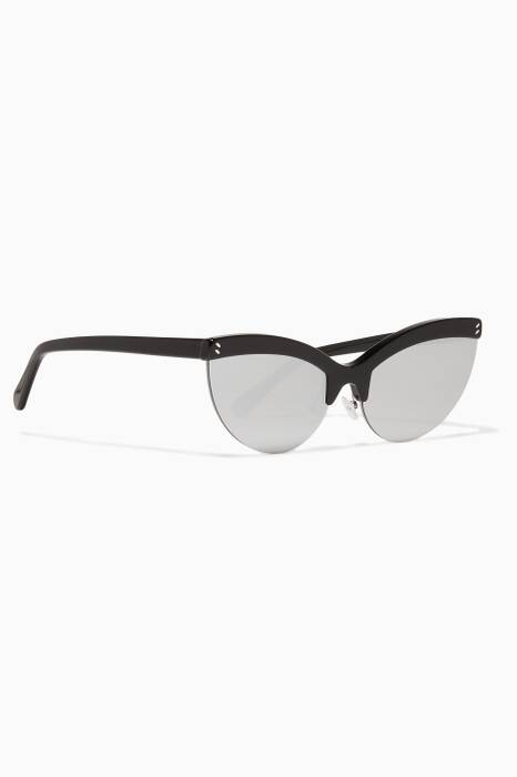 Black Cat-Eye Mirror Sunglasses