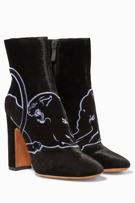 Black Panther Embroidered Velvet Boots