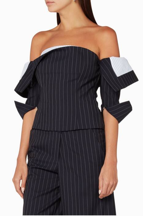Navy Pinstriped Corset Top