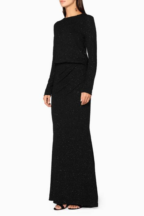 Metallic-Black Long-Sleeve Gown
