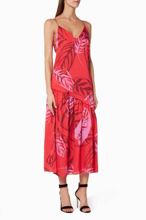 Red Maria-Print Slip Dress