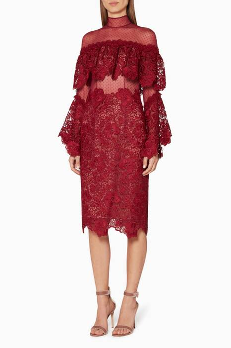 Dark-red Bell-Sleeve Lace Dress