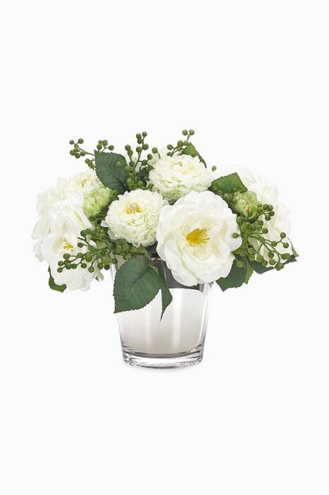 White & Green Rose Ranunculus Bouquet with Mirrored Cylinder Vase