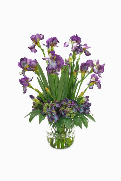 Purple & Green Iris Hydrangea Bouquet with Clear Dimple Vase