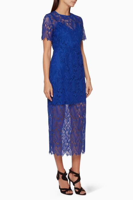 Cobalt-Blue Macramé-Lace Pencil Dress