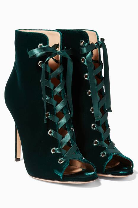 Dark-Green Velvet Lace Up Bootie