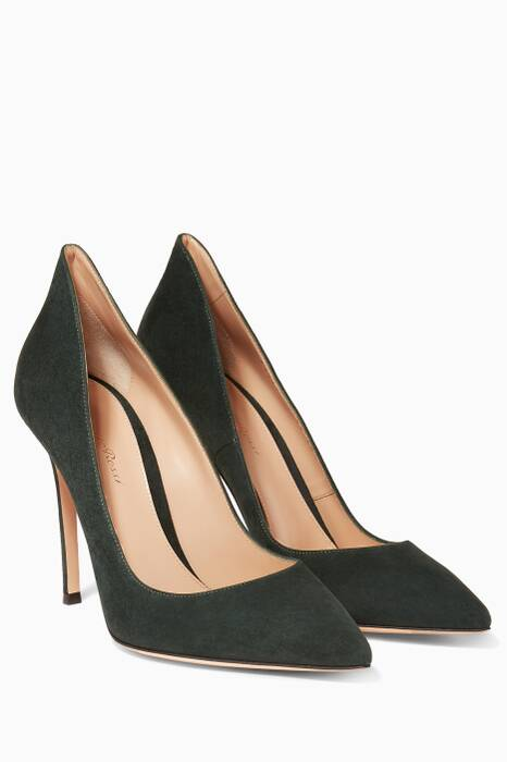 Dark-Green Ellipsis Suede Pumps