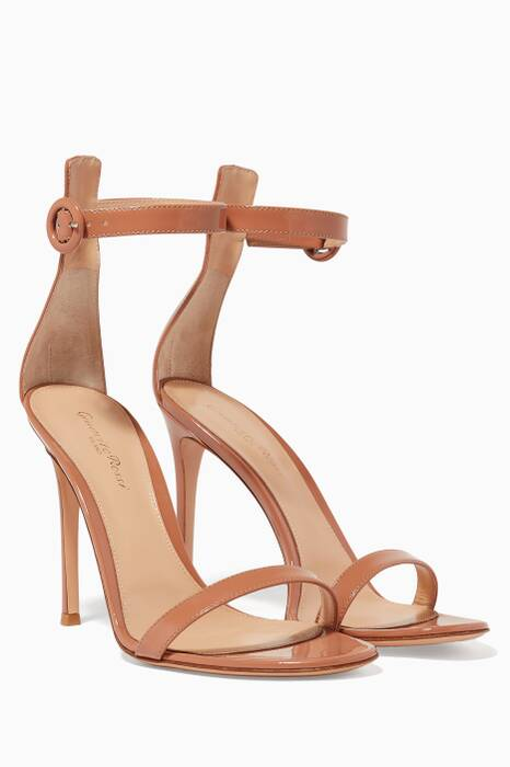 Beige Portofino Patent Leather Sandals