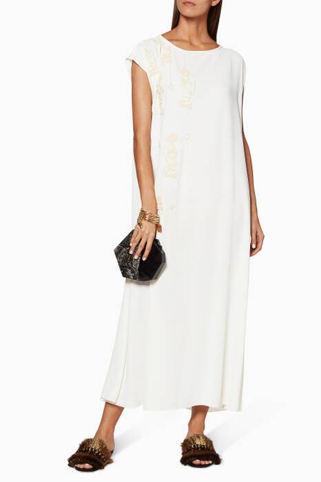 White Linear Jewels Crepe Dress