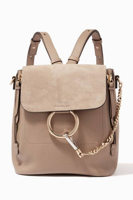 Motty Grey Small Faye Suede Backpack