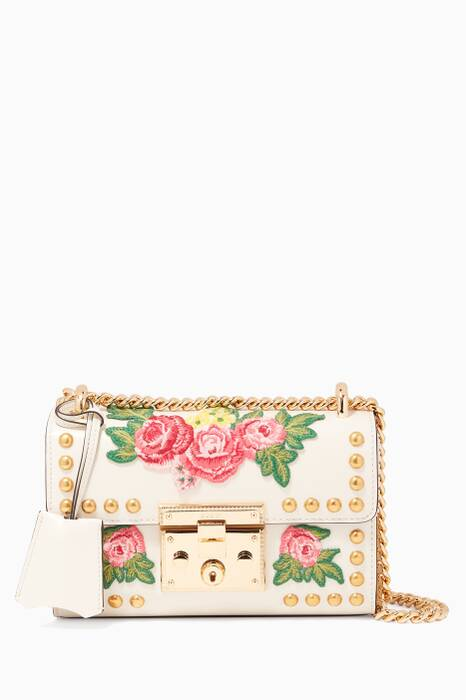 White Padlock Embroidered Shoulder Bag
