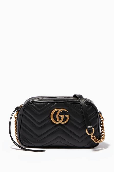 Black Leather Small GG Marmont Shoulder Bag