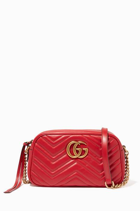 Hibiscus-Red Leather Small GG Marmont Shoulder Bag