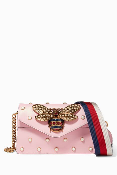 Pastel-Pink Broadway Leather Chain Clutch
