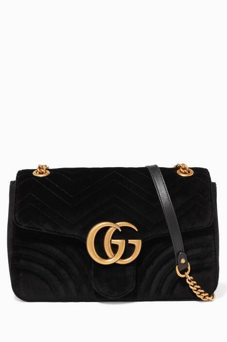 Black GG Marmont 2.0 Velvet Shoulder Bag