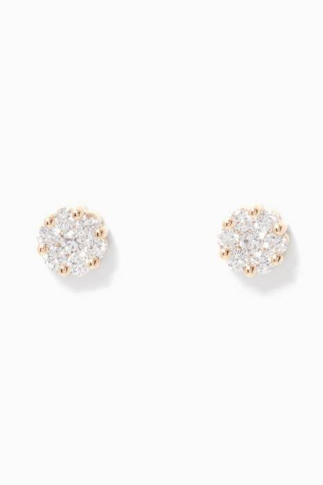 Yellow-Gold & Diamond Flower Earrings