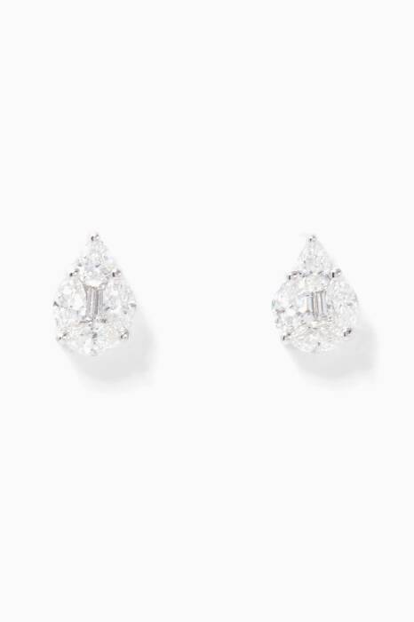 White-Gold & Diamond Tear Earrings