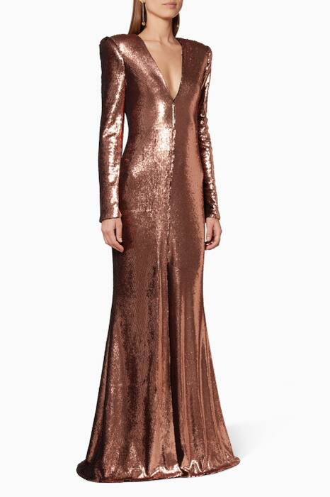 Bronze Sequin Gown