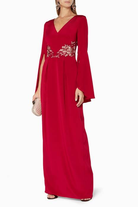 Red Floral Embroidered Bell-Sleeved Gown