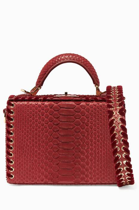 Burgundy Python & Velvet Mini Picnic Box Bag