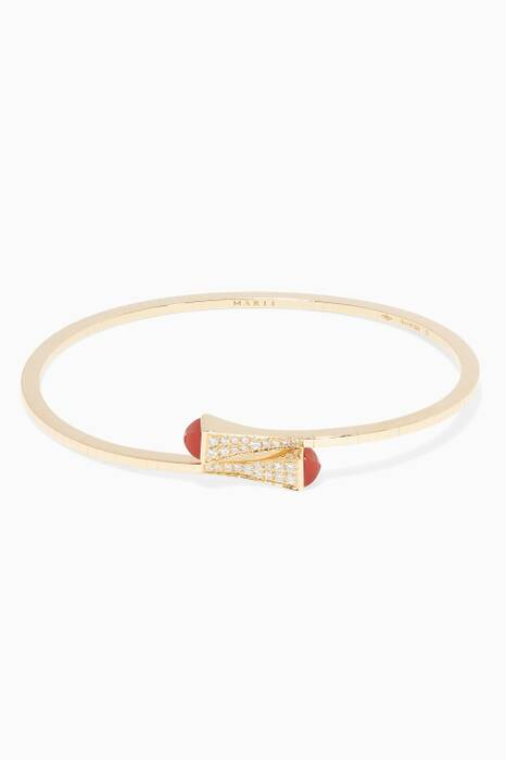 Yellow-Gold, Red Agate & Diamond Cleo Bangle
