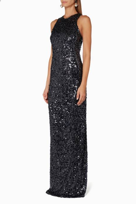 Dark Blue Sequin Racer Back Dress