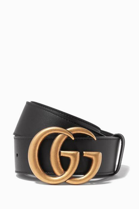 Black Double G Buckle Leather Belt