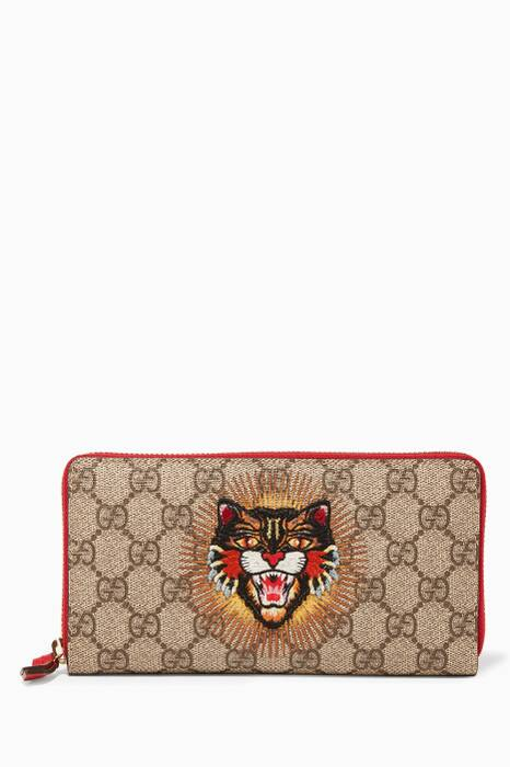 Brown & Red Angry Cat Zip-Around Wallet