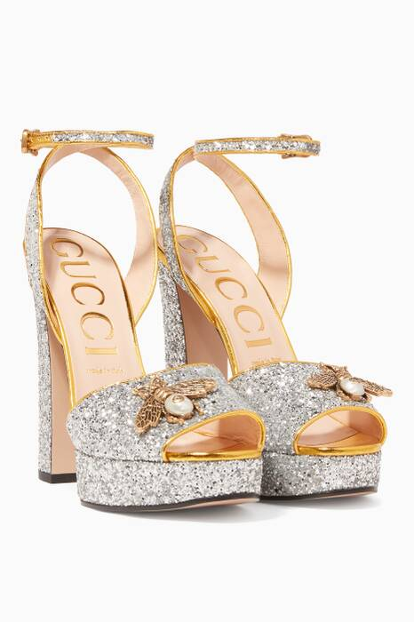 Gold Soko Glittered Bee Platform Sandals
