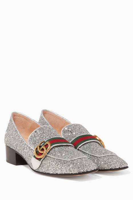 Silver Peyton Glittered Loafers