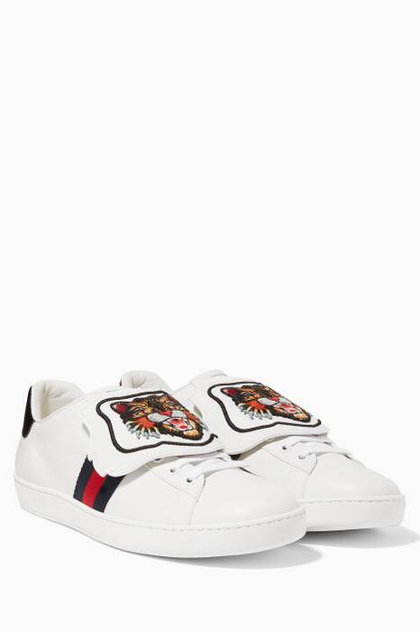 White Ace Embroidered Angry Cat Leather Sneakers