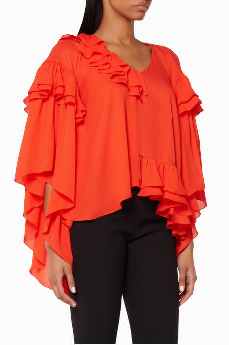 Tomato-Red Ruffled Silk Blouse