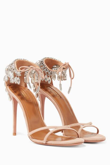 Light-Pink Eden Suede Crystal Sandals