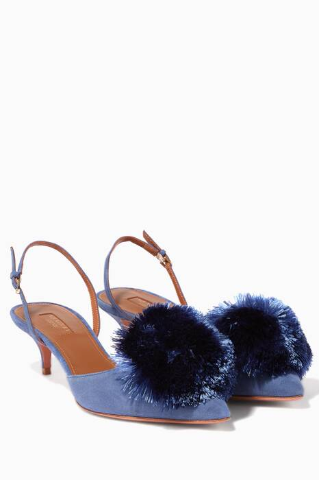 Blue Powder-Puff Suede Sling-Back Pumps