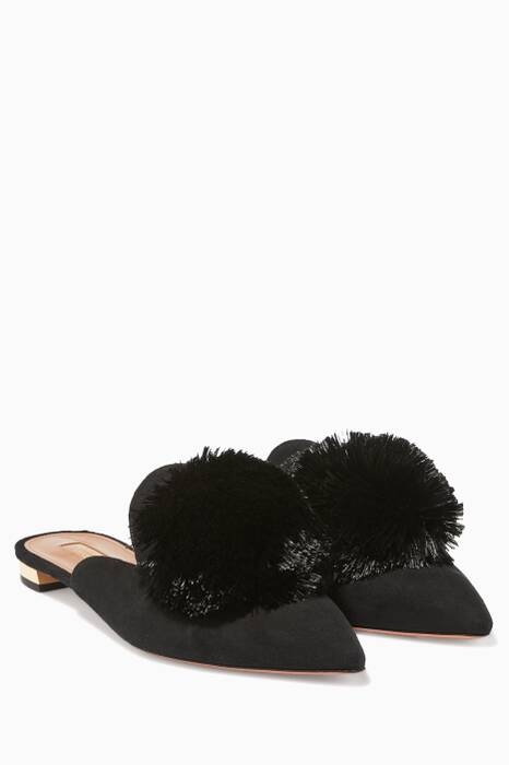 Black Powder-Puff Suede Slippers