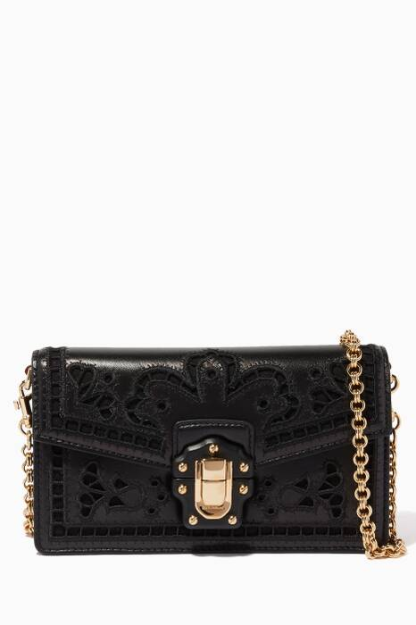 Black Leather Intaglio Mini Lucia Cross-Body Bag