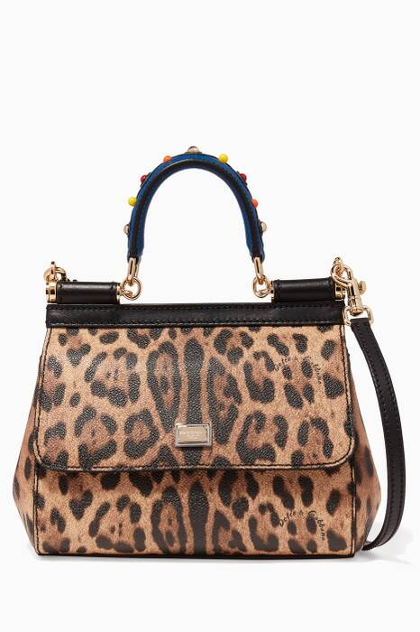 Leopard Print Small Sicily Top Handle Leather Bag