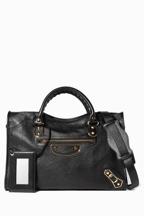 Black Metallic Edge City Medium Tote Bag