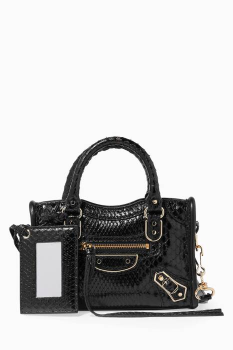 Black Mini Python Classic Metallic Edge City Tote Bag