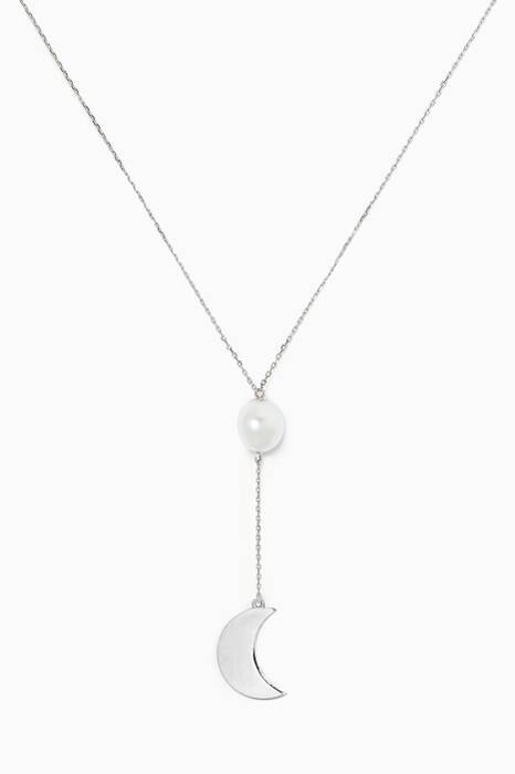 White-Gold Moon Charm & Kesha Pearl Necklace