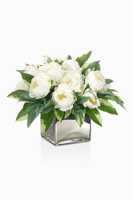 Cream White, Mirrored Cube Peony