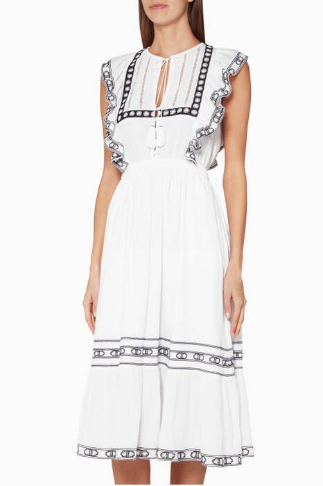 White Amelie Lace-Trimmed Cotton Dress