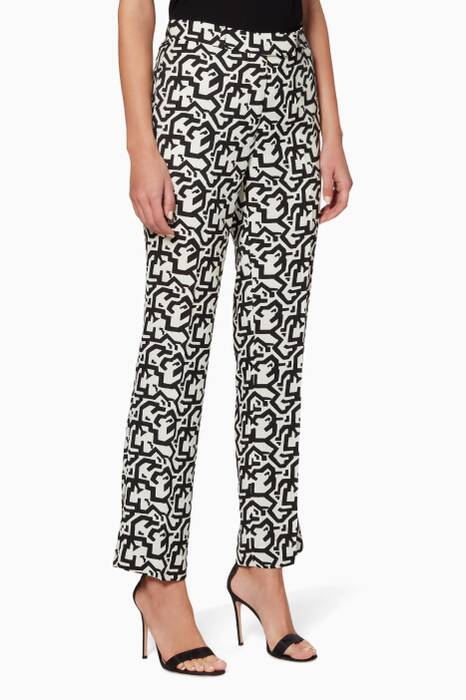 Black & White Graphic-Print Pants