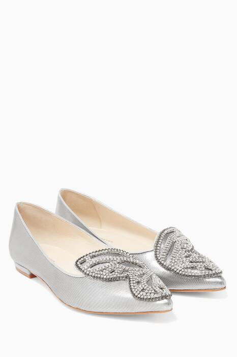 Silver Crystal Embellished Bibi Butterfly Flats