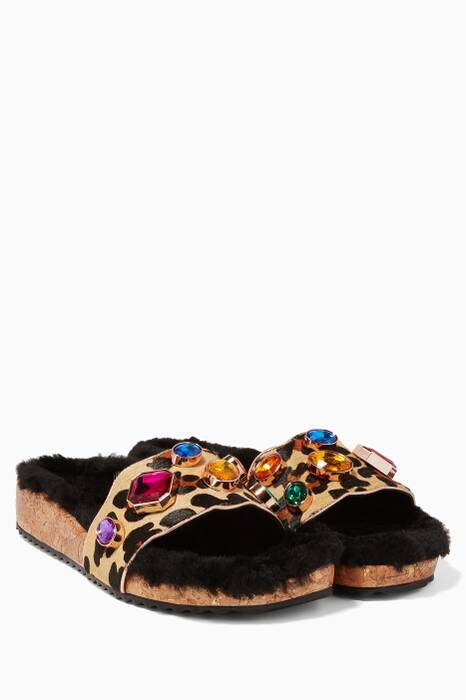 Leopard-Print Pony hair & Shearling Fur Lyla Slides